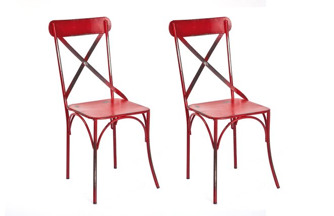 lot de 2 chaises bistrot industrielles mtal rouge coffee miliboo - Chaise Bistrot Rouge