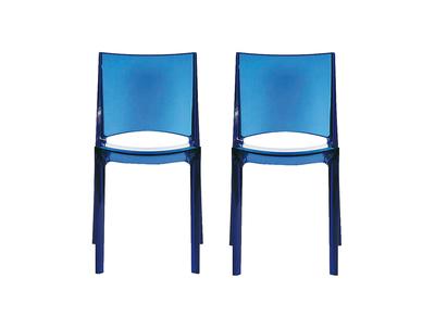 Lot de 2 chaises bleues translucides design KALYA