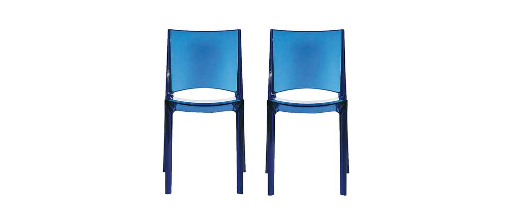 lot de 2 chaises bleues translucides design kalya miliboo. Black Bedroom Furniture Sets. Home Design Ideas