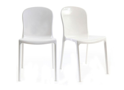 Lot de 2 chaises design blanches polycarbonate THALYSSE