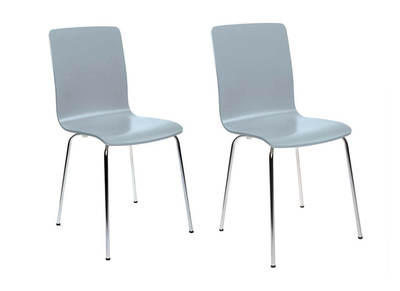 Lot de 2 chaises design cuisine grises NELLY