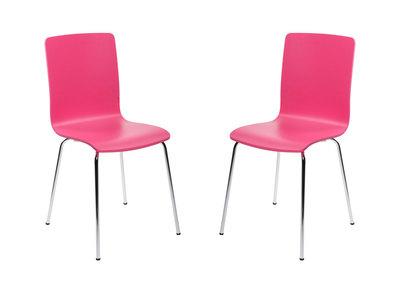 Lot de 2 chaises design cuisine roses NELLY
