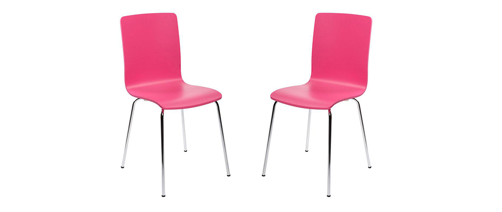 lot de 2 chaises design cuisine roses nelly miliboo