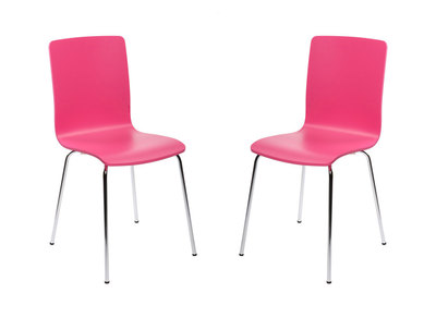 Lot de 2 chaises design cuisine roses NELLY