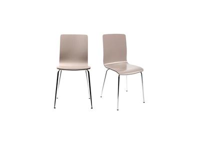 Lot de 2 chaises design cuisine taupes NELLY