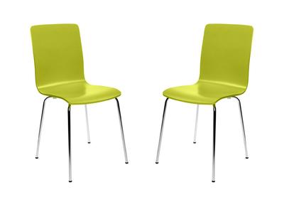 Lot de 2 chaises design cuisine vertes NELLY