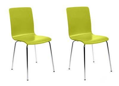Lot de 2 chaises design cuisine vertes NELLY