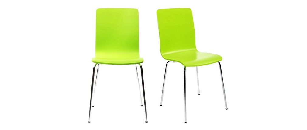 Lot de 2 chaises design cuisine vertes pomme NELLY
