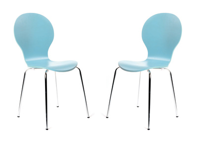 Lot de 2 chaises design empilables bleues NEW ABIGAIL