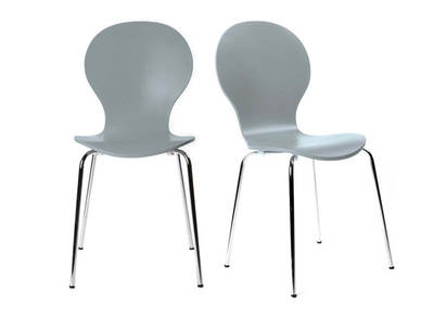 Lot de 2 chaises design empilables grises NEW ABIGAIL