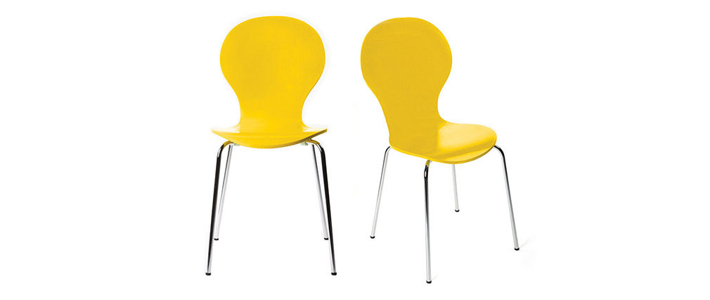 Lot de 2 chaises design empilables jaunes NEW ABIGAIL