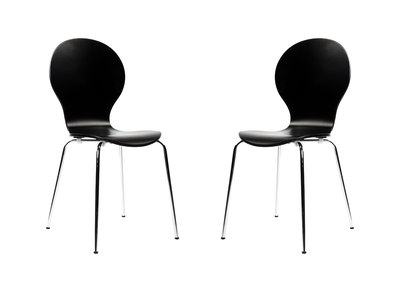 Lot de 2 chaises design empilables noires NEW ABIGAIL