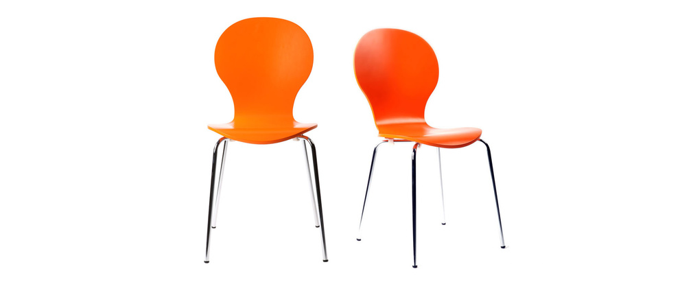 Lot de 2 chaises design empilables oranges NEW ABIGAIL