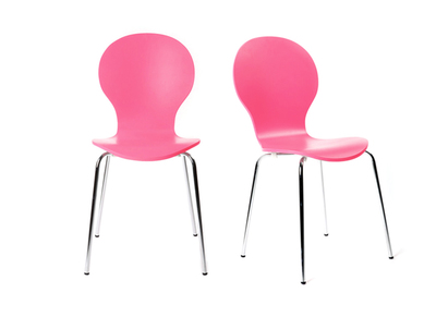 Lot de 2 chaises design empilables roses NEW ABIGAIL