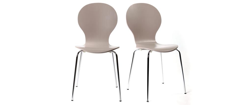 Lot de 2 chaises design empilables taupes NEW ABIGAIL