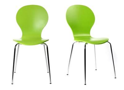 Lot de 2 chaises design empilables vertes pomme NEW ABIGAIL