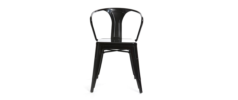 Lot de 2 chaises design industriel noires FACTORY