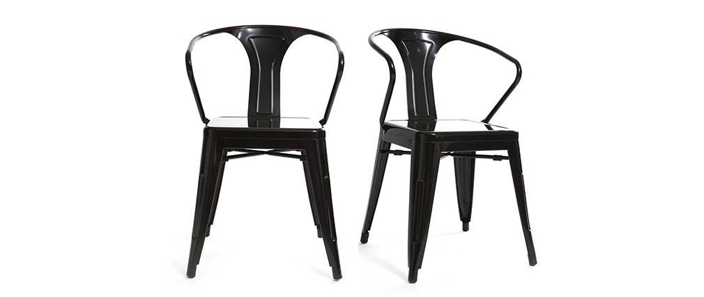 Lot de 2 chaises design industriel noires factory miliboo for Chaise design industriel