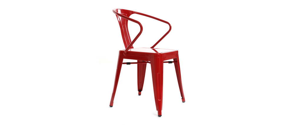Lot de 2 chaises design industriel rouges factory miliboo for Chaise factory rouge