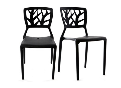 Lot de 2 chaises design noires KATIA
