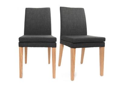 Lot de 2 chaises design polyester gris anthracite GLORIA