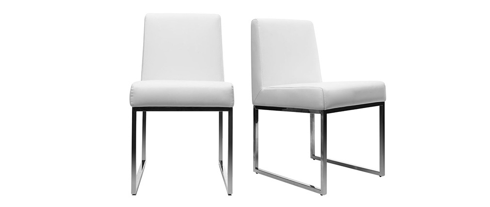 Lot de 2 chaises design polyuréthane blanc et acier chromé JUNIA