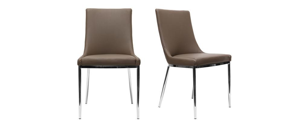 Lot de 2 chaises design polyur thane taupe et acier chrom - Table et chaise design pas cher ...