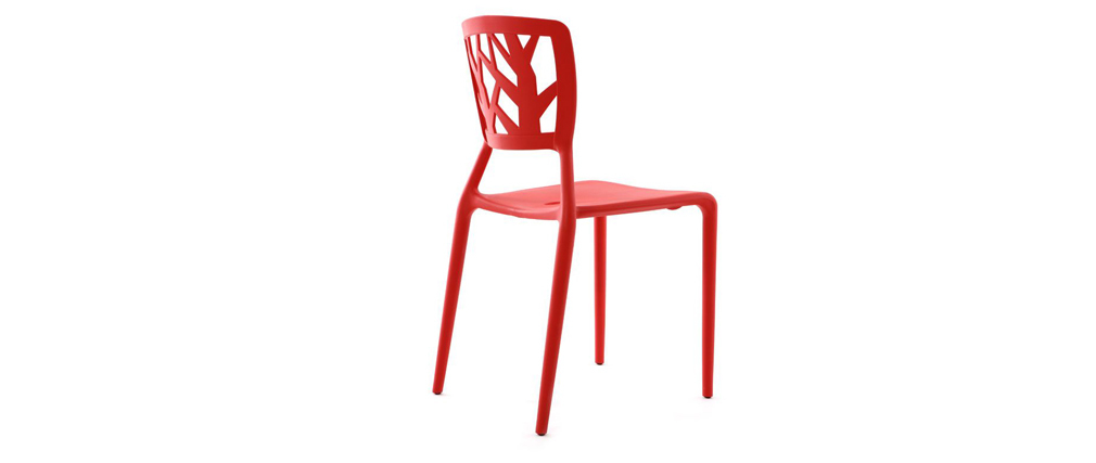 Lot de 2 chaises design rouges empilables KATIA