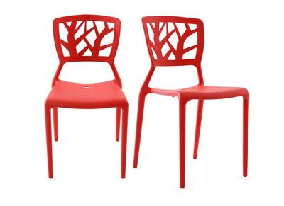 Lot de 2 chaises design rouges  KATIA