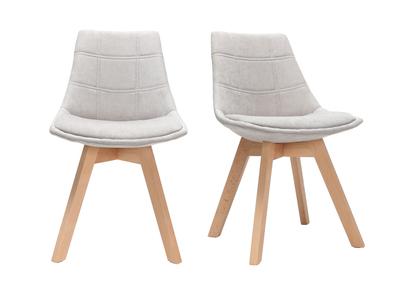 Lot de 2 chaises design scandinave bois et tissu gris clair MATILDE