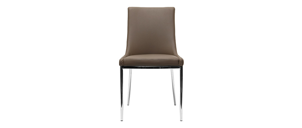 Lot de 2 chaises design taupe et acier chromé IRA