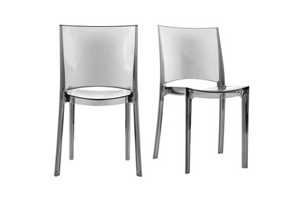 Lot de 2 chaises design transparentes grises KALYA