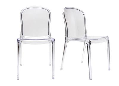 Lot de 2 chaises design transparentes polycarbonate THALYSSE