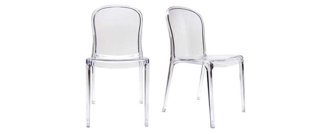 lot de 2 chaises design transparentes polycarbonate. Black Bedroom Furniture Sets. Home Design Ideas