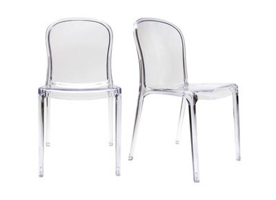 Lot de 2 chaises design transparentes polycarbonate THALYSSE