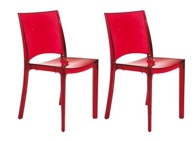 Lot de 2 chaises design transparentes rouges KALYA