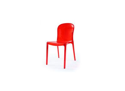 Lot de 2 chaises design transparentes rouges polycarbonate THALYSSE