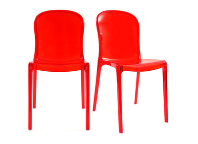 Lot de 2 chaises design transparentes rouges polycarbonate THALYSSE