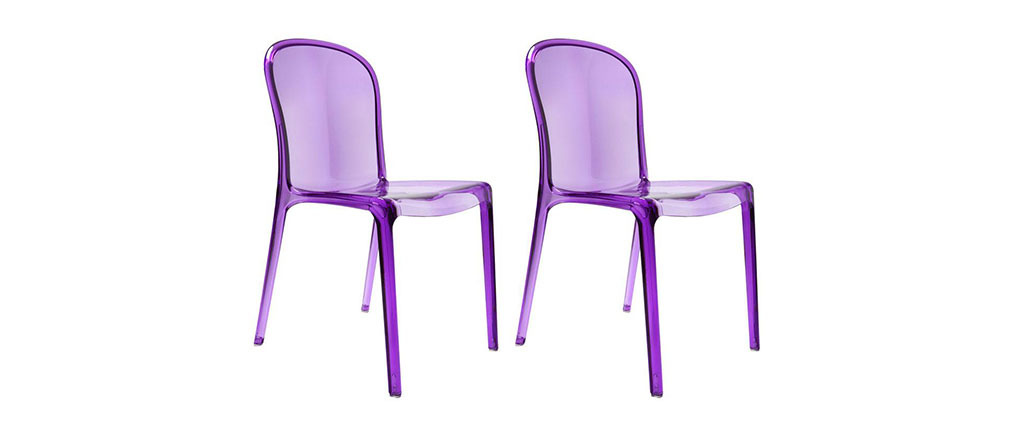 lot de 2 chaises design transparentes violettes polycarbonate thalysse miliboo. Black Bedroom Furniture Sets. Home Design Ideas