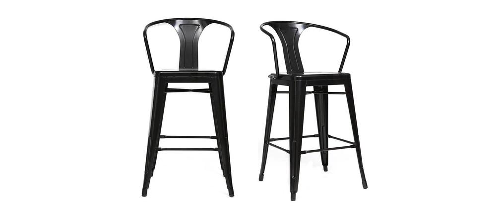 Lot De 2 Chaises Hautes M Tal Design Industriel Noir