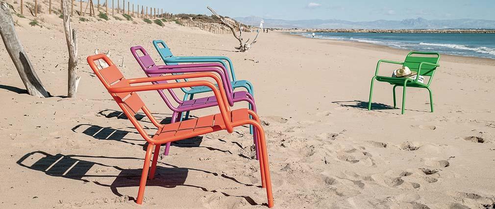 Lot de 2 chaises lounge design extérieur aluminium bleu ITHAQUE