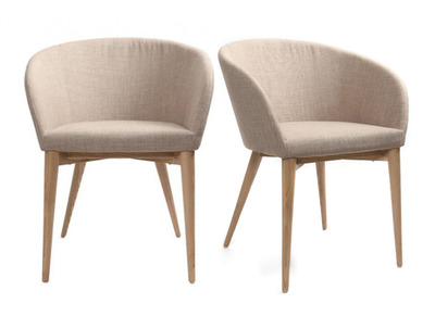Lot de 2 fauteuils design beige DALIA