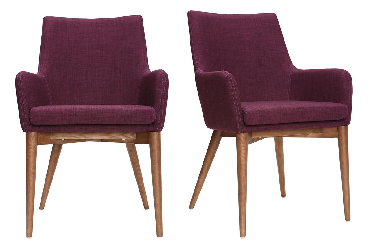Lot de 2 fauteuils design bois et tissu prune SHANA