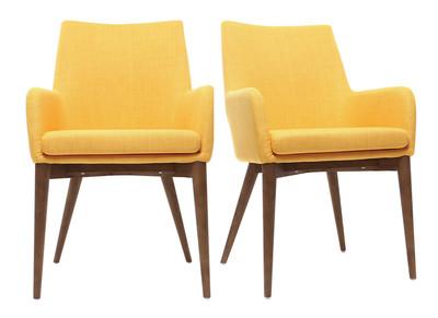 Lot de 2 fauteuils design bois et tissus jaune SHANA