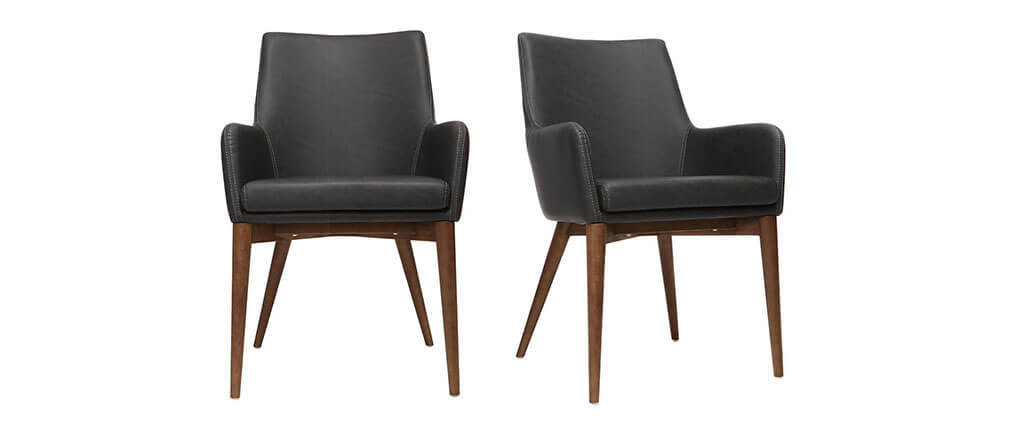 Lot de 2 fauteuils vintage PU noir et bois  SHANA