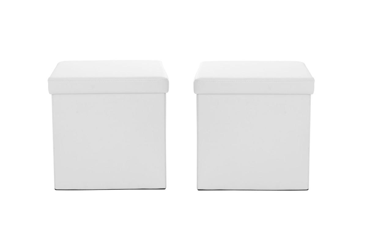 lot de 2 poufs de rangement design blanc milo miliboo. Black Bedroom Furniture Sets. Home Design Ideas
