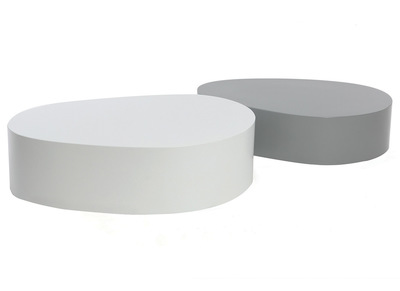 Lot de 2 tables basses blanche et gris mat CAMILLE