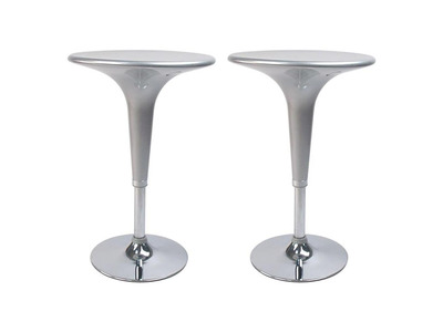 Lot de 2 tables de bar argent JOHN