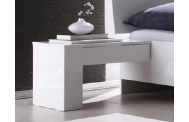 Lot de 2 tables de chevet ouvertes design laqu blanc netta miliboo - Table chevet blanc laque ...