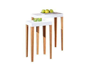 Lot de 2 tables gigognes bambou blanc GAZELLE